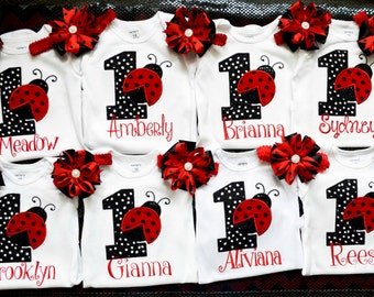 Ladybug birthday shirt top onesie bodysuit,1st ladybug birthday onesie,black and red polka dot birthday onesie,First Ladybug onesie/shirt