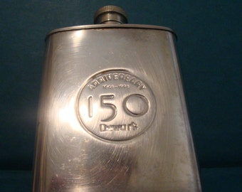 Vintage Dewar's Anniversary 150 Years 1846 - 1996 Flask Stainless Steel 3 oz