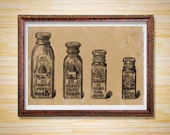 Kitchen decor Honey poster Antique print