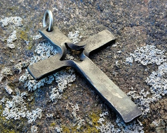 Hand forged cross pendant, iron crucifix pendant