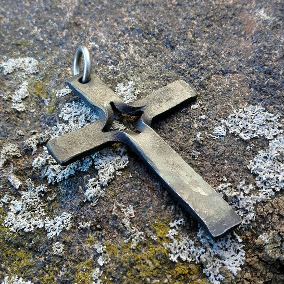 Forged Steel Crosses : Hand forged cross pendant iron crucifix