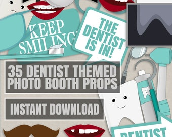 35 Dentist Themed Party Photo Booth Props, Dentist props, love dentistry party photobooth sign, dentist photobooth props, diy party prop
