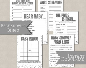 Silver Baby Shower printable game set of 6, silver effect baby shower games, dear baby printable, baby bingo, word scramble, mad lib baby