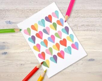 "Postcard ""Marries you happy"" heart shine"