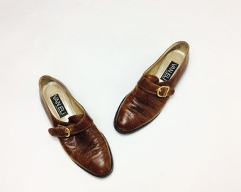 37 Vintage oxfords 7 vintage monk strap oxfords with strap shoes 37 oxfords leather brown oxfords leather monk strap flats leather oxfords 7