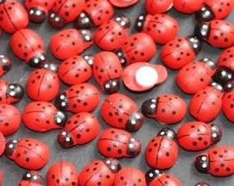 100 x Mini Red Cute Wooden Ladybird Embellishments