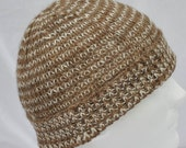 Hand Knit, Lightweight, Alpaca Winter Hat. Handspun fawn and millspun white alpaca in a great light beanie, toque, or ski cap