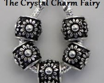 Great Spacer For Any Bracelet SUNFLOWER European Charm Spacers Fits / Big Hole Beads / Fits Pandora / European Also Necklaces