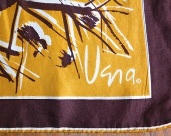 Vintage Vera Silk Scarf Hand Rolled USA Gold Brown Abstract Graphic