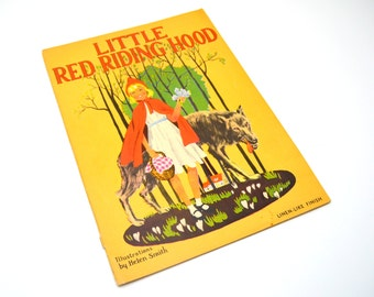Little Red Riding Hood, Vintage 1930s Children's Book, Illustrations by Helen Smith, Linen Like Pages