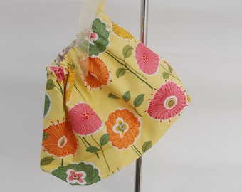 Small knitting bag, project bag or sock bag, in yellow floral polycotton fabric