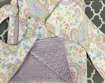 Baby Blanket with bib and burp cloth set