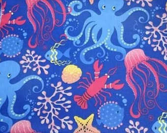 Fabric cotton, 100% cotton, fabric marine, sea bed