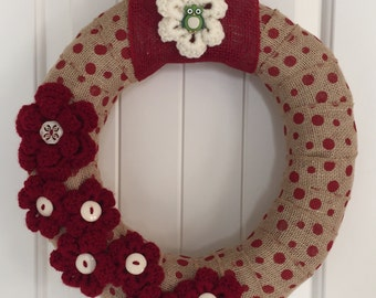 Ready to Ship: Rustic Wreath, Christmas Home Decor, Shabby Chic Christmas Wreath, Shabby Chic Wreath, Rustic Wreath, Rustic Home Decor