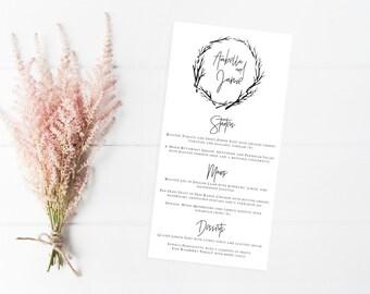 Minimal Wedding Menu - Printable Design