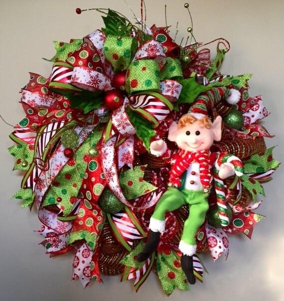 Elf Christmas Wreath Elf Holiday Wreath Elf Mesh Wreath Elf