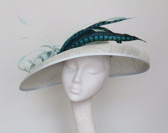 Wide Brim Pale Blue Fascinator, Royal Ascot Hat,  Derby Hat, Mother of the Bride Hat, Occasion Hat