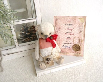 "OOAK Teddy, artist Teddy Bear, artist Teddy bear ""Romy"", bear 15 cm with certificate, vintage, shabby"