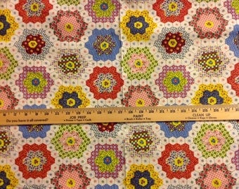 3 yds Vintage cheater cloth quilting quilt cotton fabric Grandmothers Flower Garden