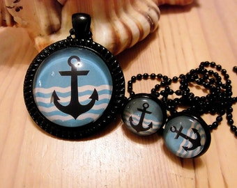 Jewellery set necklace earrings cabochon anchor