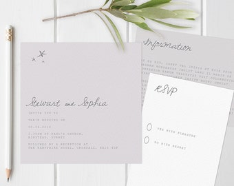 Bohemian wedding invitation set wth star illustrated details. Modern wedding invites. Square invites.