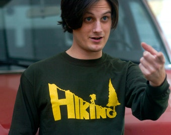 HIKING Hand Crafted Screen-Printed 100% Cotton Long Sleeve Tee in Green & Yellow