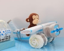 Diaper Airplane, Baby Boy, Baby Girl or Gender Neutral Gift, Unique Baby Gift, Diaper Cake, Baby Shower Gift