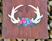Floral antlers wood sign, Antlers with flowers, Girl's nursery wood sign, Hunting Nursery, Woodland nursery, Rustic Wooden Sign Rustic Decor
