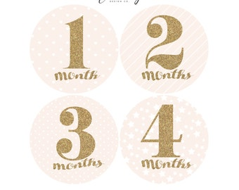 FREE DIGITAL STICKERS / Baby Stickers Monthly / Monthly Stickers / Baby Month Stickers / Girl Bodysuit Stickers / Glitter