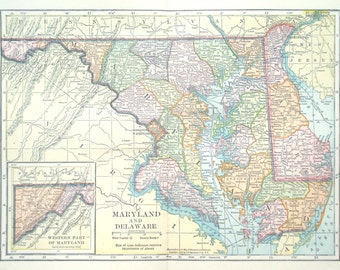Maryland County Map Etsy