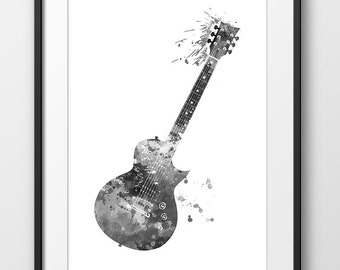 Electric Guitar Black and White Watercolor Print, Music Poster, Music Abstract Art, Music Instrument Poster, Guitar Decor, Wall Art (A0249)