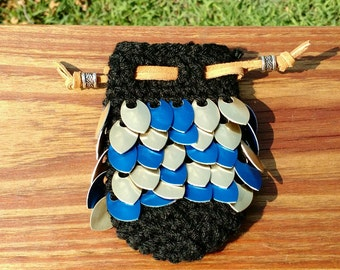 Blue and Gold Mini Dragon Scale Dice Bag