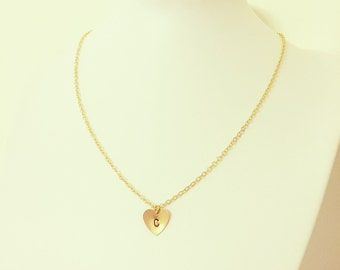 Hand Stamped Gold Plated Initial Heart Necklace