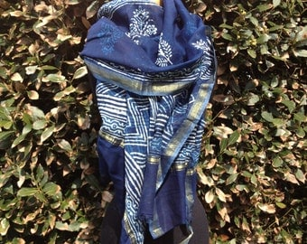 indigo pure silk blockprint luxury scarf sarong shawl floral blue white gold stripe boho graphic