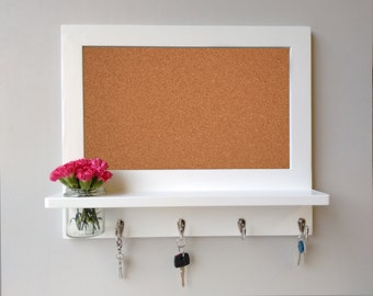 corkboard memo board organiser with shelf, hooks and mason jar. (Choice of options available)
