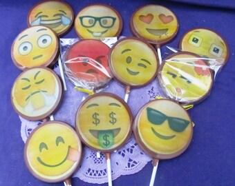 Emoji edible chocolate lollipops suckers