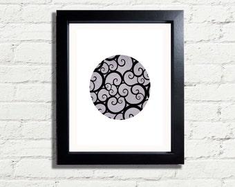 Grey Spirals & Swirls Modern minimalism Wall Art Print INSTANT DIGITAL DOWNLOAD 300 dpi minimalist Style Wall Hanging Gift idea