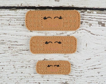 Bandaid Feltie Set of 4 - Hair Bow Supplies - Clippie Cover - Badge Reel Cover - Craft Supply - Scrapbooking - Card Making - Planner Clip