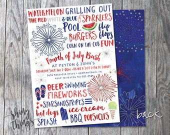 Fourth of July Party Invitation 5x7