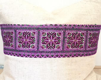SALE-Hemp and Tribal Embroidery pillow Cover