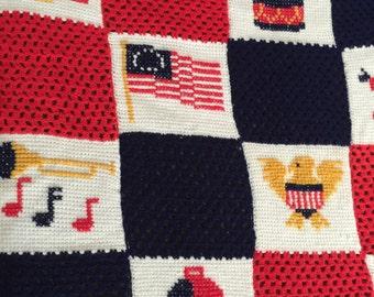 Vintage Bicenential 1976 Patriotic Crochet Afghan