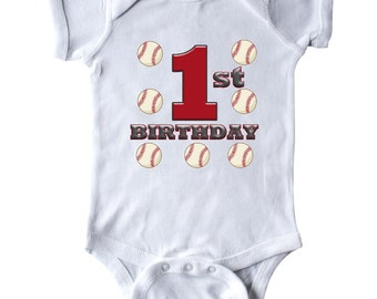 First Birthday Baseball Infant Creeper by Inktastic