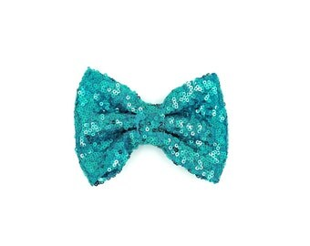 Aqua mermaid sequin bow, sequin, hair bow, baby headband, hair clip, bow clip, bow, floppy bow, sequin bow clip, sequin bow clip
