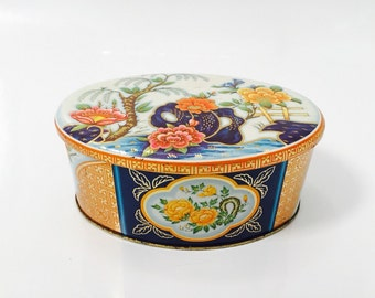 Vintage Daher Tin , Floral gilted pastel tin with liff off lid. Oval shape, colourful tin