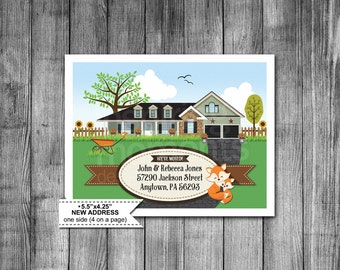 New Address Cards | Moving Card | New Address | Thank You Note | New House | New Home | Change Of Address | Printable | Instant Download |