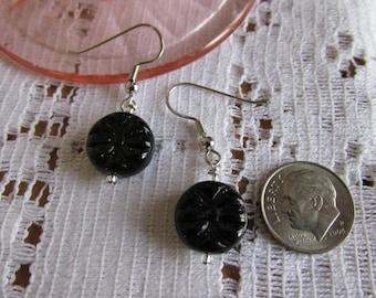 Black flower earring