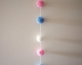 Baby blue, cream & pink pompom garland