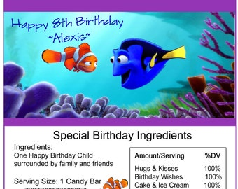 Finding Dory Birthday Candy Bar Wrapper