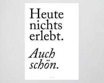 También agradable / hoy, nada, impresión, arte de la pared arte, arte del cartel mínimo, arte de la tipografía, premium poster arte impresión cartel