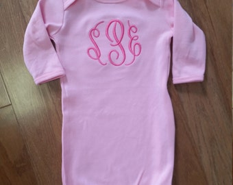 Infant Gown with Large Stitched Monogram on Chest